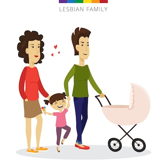 Casal de lésbicas de vetor amor conceito