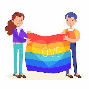 Casal de lésbicas em design plano com bandeira lgbt ilustrada