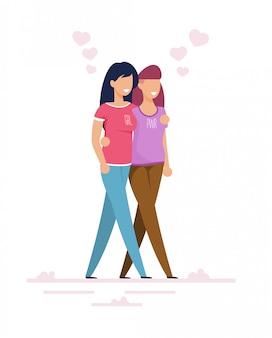 Casal de lésbicas femininas caminhando juntos dos desenhos animados