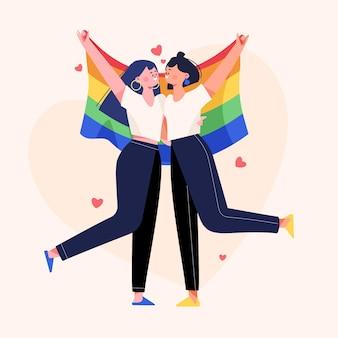 Casal de lésbicas flat orgânicas com bandeira lgbt