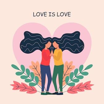 Casal de lésbicas jovens adoráveis flertando entre si parceiros românticos homossexuais em encontro