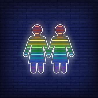 Casal de lésbicas sinal de néon