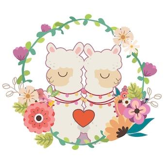 Casal de lhama bonito em uma ilustração de grinalda de flores