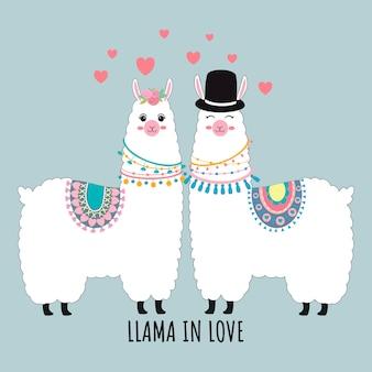 Casal de lhama bonito no cartão de amor valentin