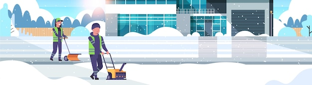 Casal de limpadores usando soprador de neve e limpa-neve conceito de remoção de neve homem mulher de uniforme limpeza villa de inverno área suburbana neve sol plana horizontal comprimento total ilustração vetorial