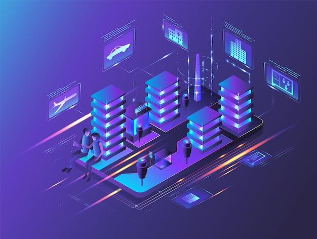 Casal de luz de néon de edifícios isométricos usando tablet na tela do smartphone ilustração vetorial inteligente ci ...