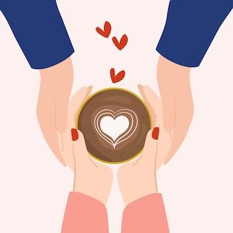 Casal de mãos com ilustração plana de xícara de café