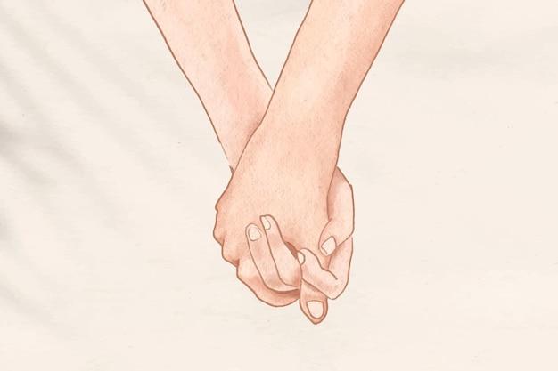 Casal de mãos dadas com ilustração estética romântica.
