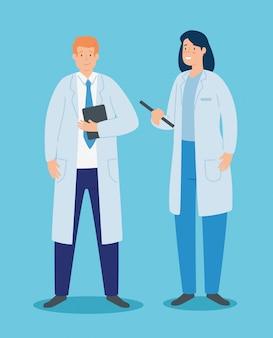 Casal de médicos com avental e documentos