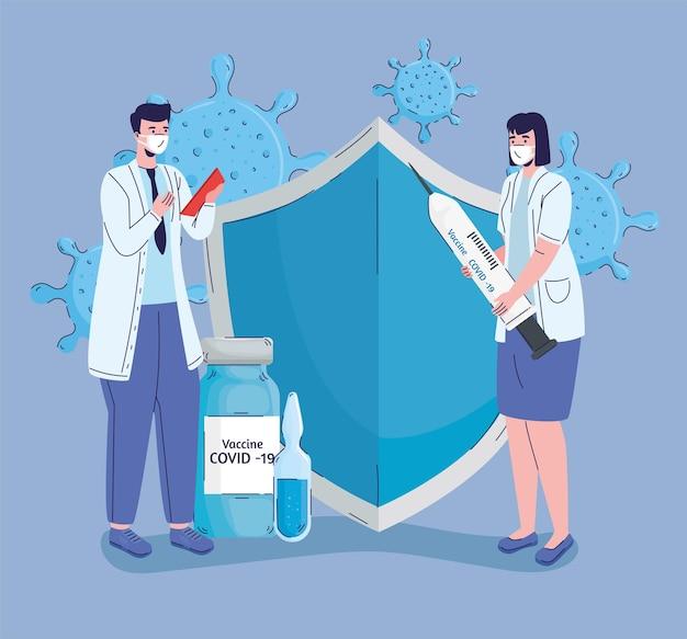 Casal de médicos com ilustração de ícones de vacinação