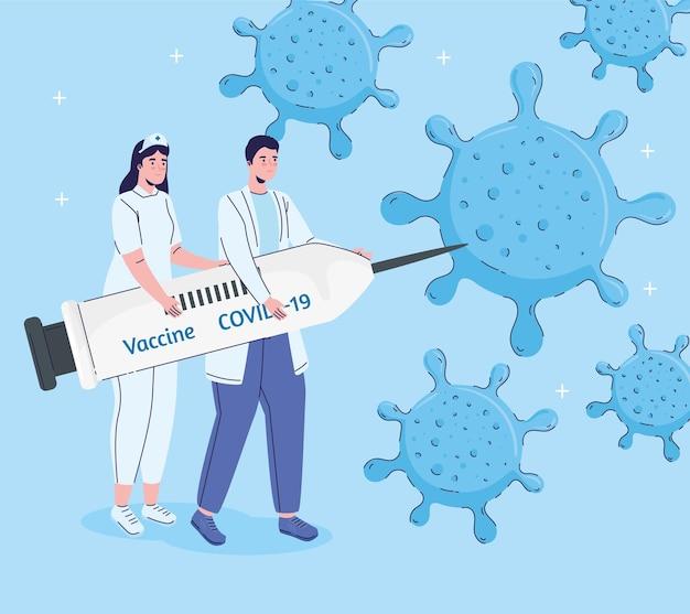 Casal de médicos levantando seringa com ilustração de vacina e partículas