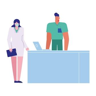 Casal de médicos profissionais usando máscaras médicas com ilustração de laptop