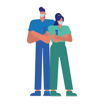 Casal de médicos profissionais usando máscaras médicas