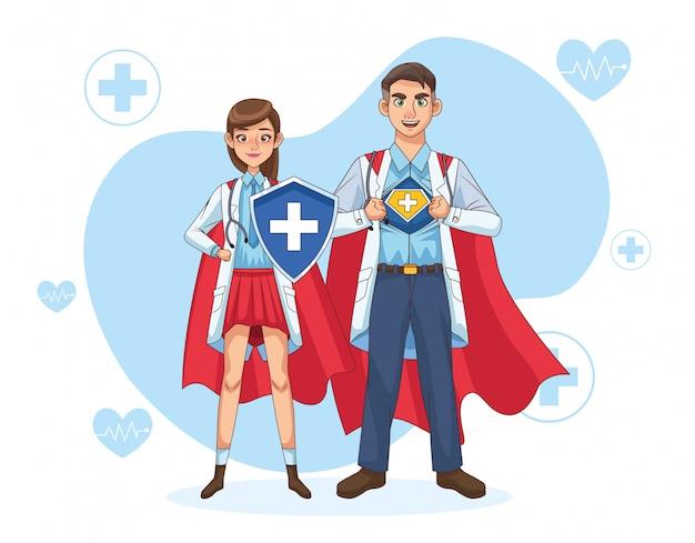 Casal de médicos super com capa e escudo de herói