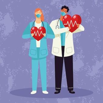 Casal de médicos usando máscara médica e coração de cardio