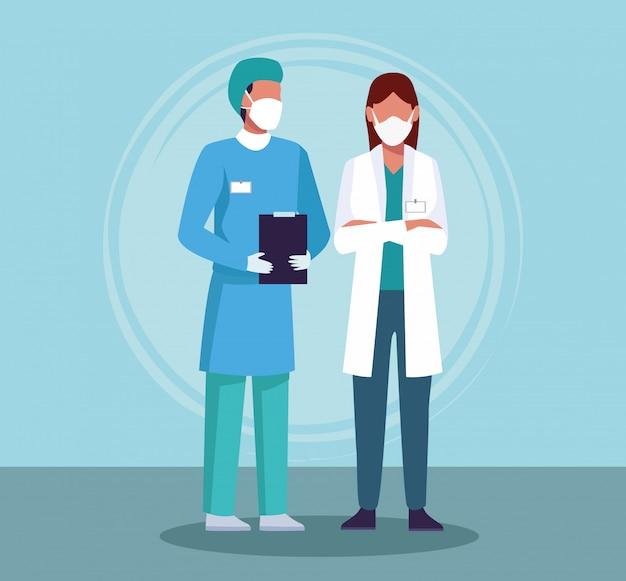 Casal de médicos usando máscara médica