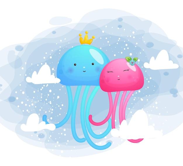Casal de medusas fofas e doces Vetor Premium
