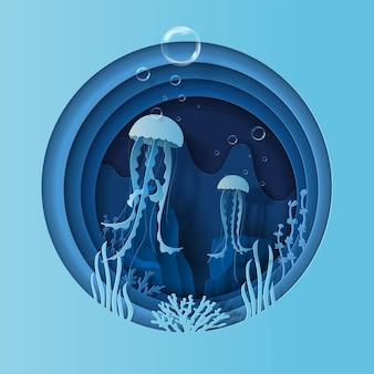 Casal de medusas nadando no conceito do dia mundial dos oceanos ajuda a proteger os animais e o meio ambiente