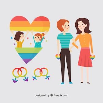 Casal de meninas com coração e símbolos de gênero