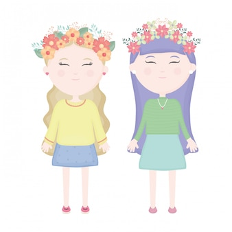 Casal de miúdas giras com coroa floral nos personagens de cabelo