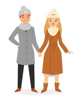 Casal de moda vestindo roupas de inverno