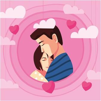 Casal de mulher e homem abraçando