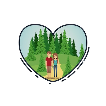 Casal de mulher e homem dos desenhos animados dentro do coração. Romance da família do relacionamento e tema do amor. Panorama