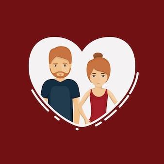 Casal de mulher e homem dos desenhos animados dentro do coração. Romance da família do relacionamento e tema do amor. Vector doente