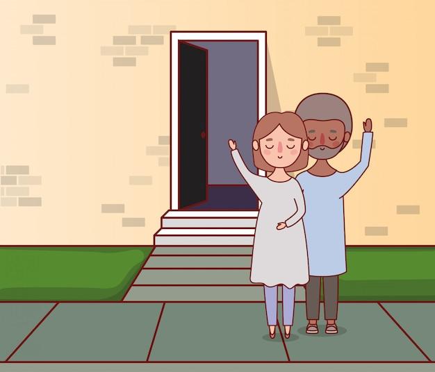 Casal de mulher e homem em frente a parede com design de porta