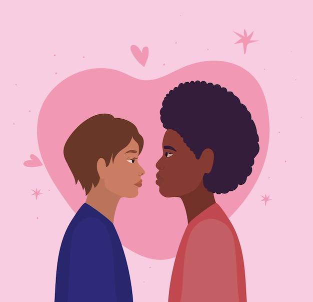 Casal de mulher e homem em vista lateral em frente ao desenho do coração, tema de relacionamento amoroso e romance