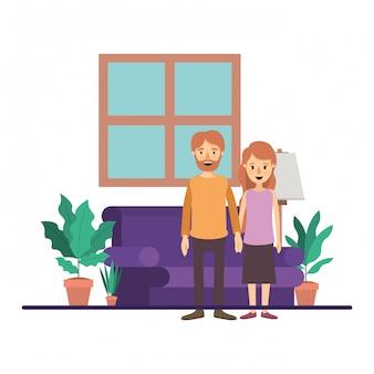 Casal de mulher e homem na sala de estar