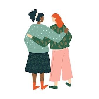 Casal de mulher sorridente conceito de amizade feminina união união de feministas ou irmandade
