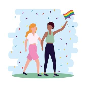 Casal de mulheres com bandeira de arco-íris para liberdade lgbt