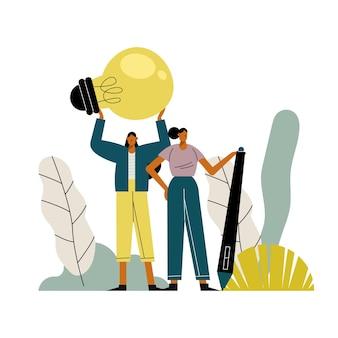 Casal de mulheres jovens com ilustração de personagens lâmpada e caneta