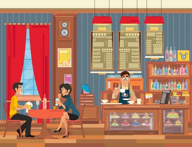 Casal de namorados em um encontro na cafeteria.