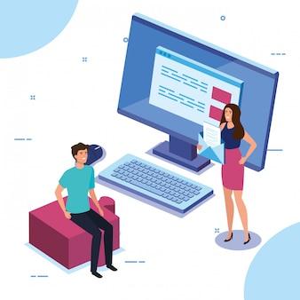 Casal de negócios com computador desktop