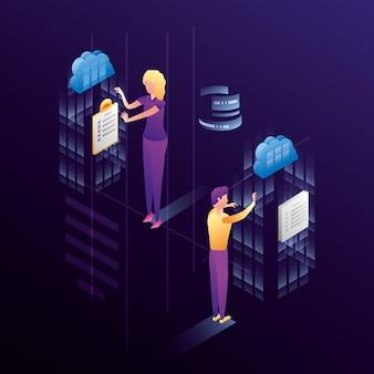 Casal de negócios com ícones de rede do centro de dados
