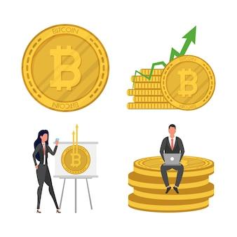 Casal de negócios com ilustração de ícones de criptomoeda bitcoins