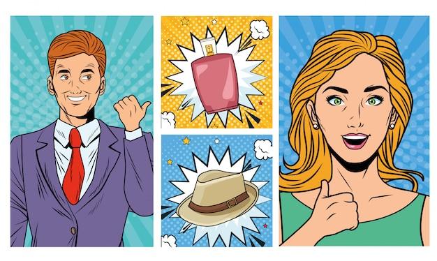 Casal de negócios com loção e chapéu estilo pop art