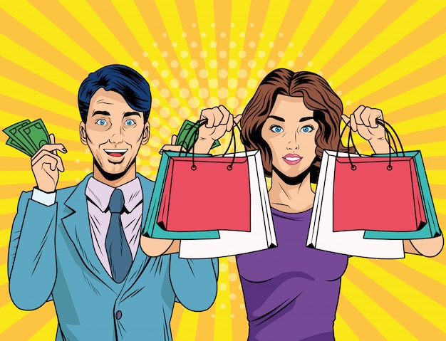 Casal de negócios com sacolas de compras e dinheiro estilo pop art