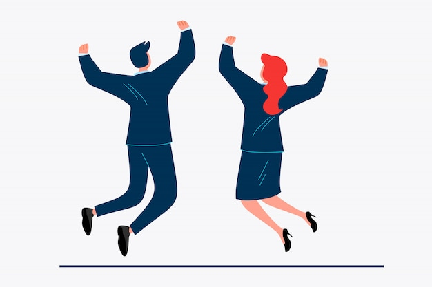 Casal de negócios comemorando sucesso