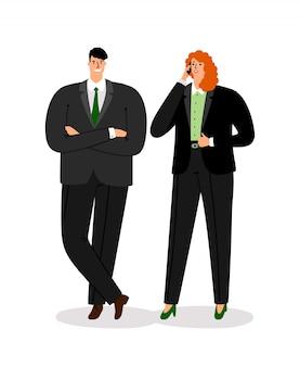 Casal de negócios dos desenhos animados