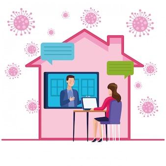 Casal de negócios em reunião de reunião on-line