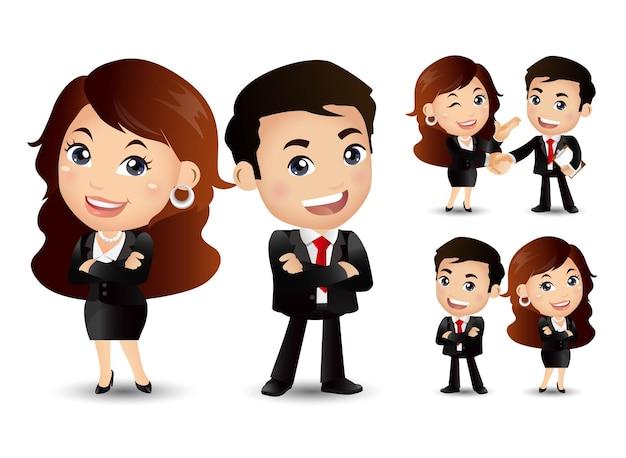 Casal de negócios juntos e apertar as mãos personagem de desenho animado