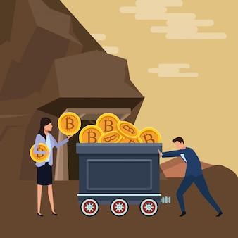 Casal de negócios segurando cryptocurrency