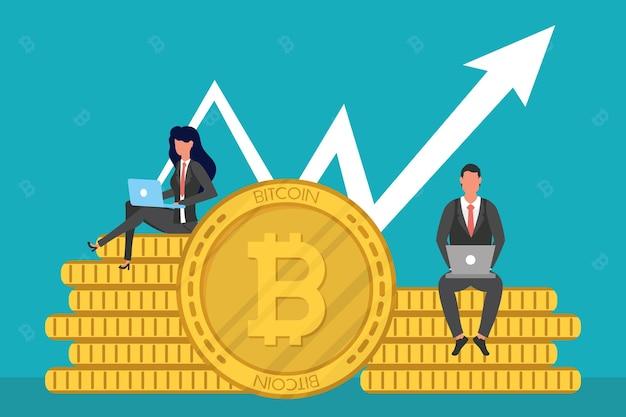 Casal de negócios usando laptops sentado em bitcoins com ilustração de seta para cima