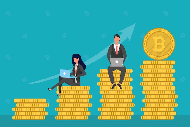 Casal de negócios usando laptops sentado na ilustração de bitcoins