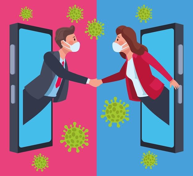 Casal de negócios usando máscaras médicas em smartphone com ilustração de partículas