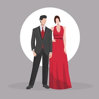 Casal de noiva vestir roupas de festa