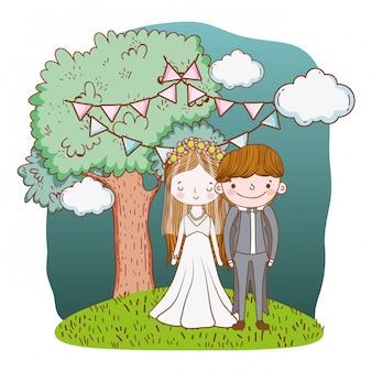 Casal de noivos bonito dos desenhos animados